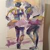 Ballerinas- Hand painted card