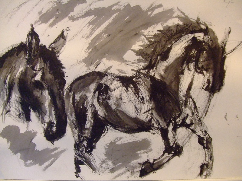 Ink running horse study- SOLD