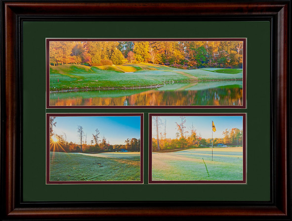 "This is a 22""x28"" framed & matted combo of three photographs.  All three photographs are of the 12th hole at Devil's Ridge.  It is priced at $225 and will be hanging in Devil's Ridge renovated club house next May.  BUT, you can buy it today :>)!! http://www.teewayne.com  .teewayne photography Cary, NC Photographer, Cary, NC Gallery  - © TeeWayne Photography"