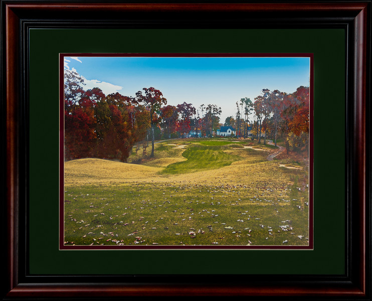 "This is a 22""x28"" framed and matted 'water color' look of the 10th hole at Devil's Ridge. This will be hung in the renovated club house and will sell for $200.  if you want an early edition, please let me know. http://www.teewayne.com  - Cary, NC Gallery  - © TeeWayne Photography"