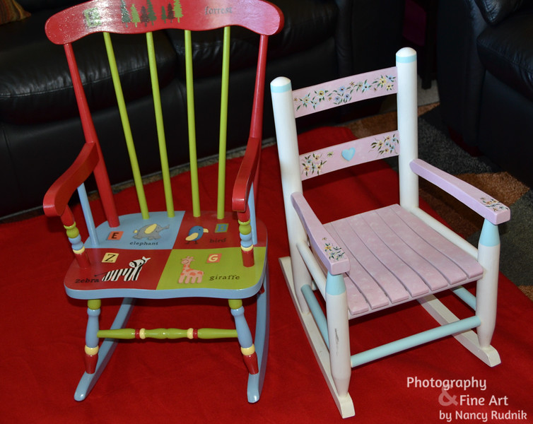 painted rocking chairs for Liam and Juliana