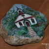 Painted garden rock - church in Rugby, TN