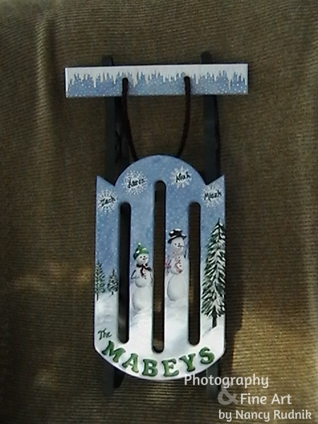 Painted sled for the Mabey family
