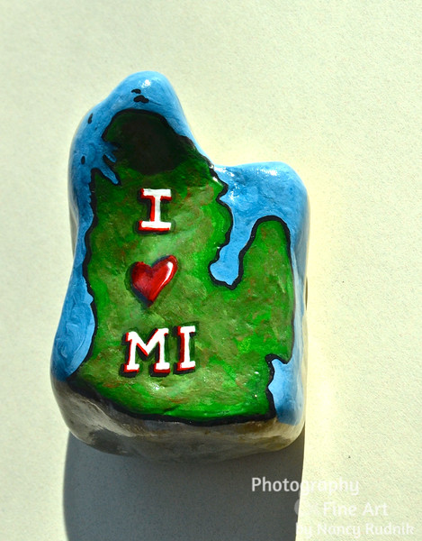 Michigan shaped rock