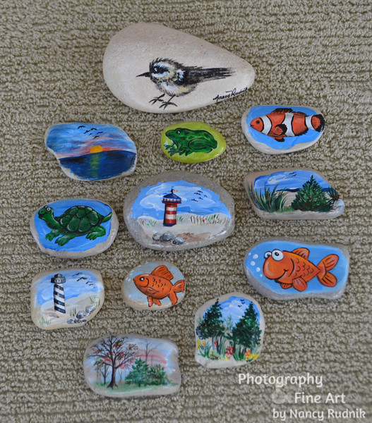 painted stones from Lake Michigan
