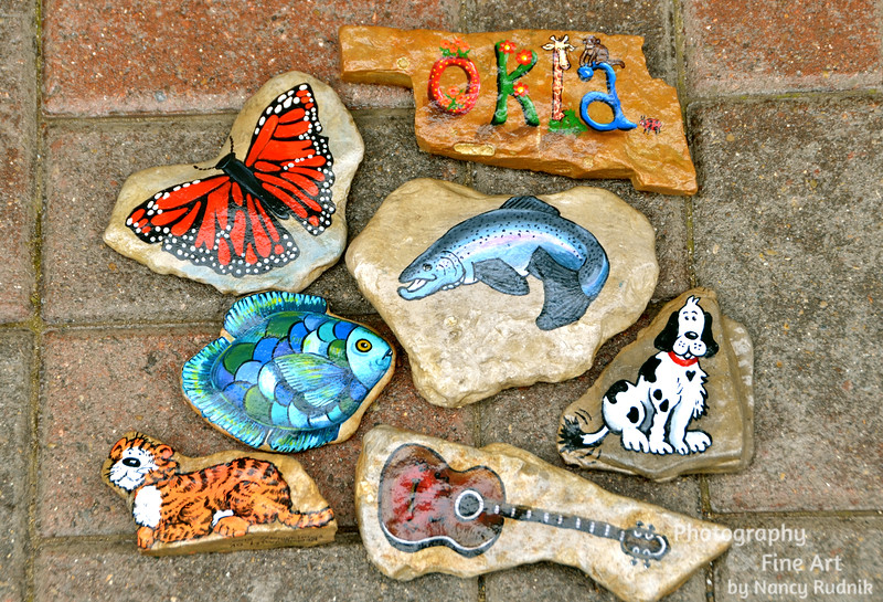Painted stones from Redbud Valley, OK, and a creek near Nashville, TN
