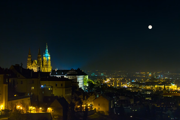 Supermoon over Prague