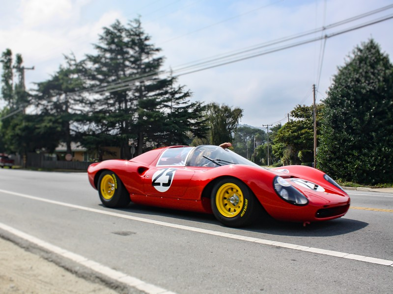 A 1967 Ferrari 206 S Dino Drogo Spyder at the Pebble Beach Tour d'Elegance in Pebble Beach, California