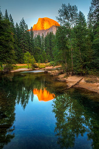 Half Dome Sunset Reflection in the Merced River