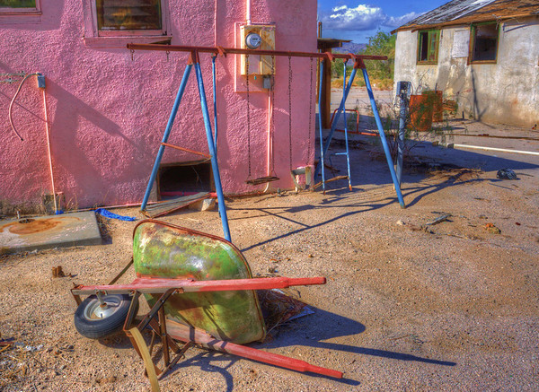 Swingset Desert Center, California If you're ever driving on the I-10 between Arizona and L.A.  Take a stop in Desert Center.  There isn't much to do since there is only one restaurant and one functioning gas station.  But there are many cool treasures to find in this ghost town.