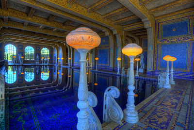 The Roman Pool.  Hearst Castle This pool, floor and walls are constructed from 1 inch tiles. So that has to be at least 100 tiles.  At least.