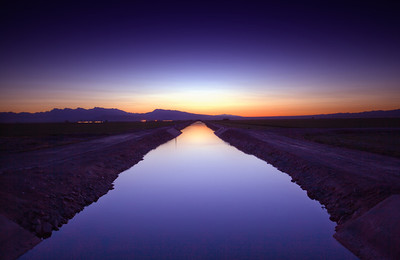 Canal at Night  Driving through Arizona near the Colorado River you come across lots of farm land fed by these canals.
