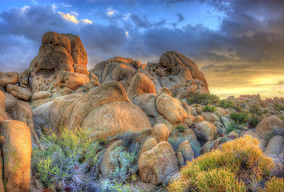 Sunset near Skull Rock Joshua Tree, California