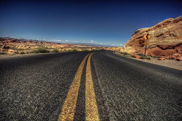 Next 4 Miles Curvy road for the next 4 miles in the Valley of Fire, Nevada.
