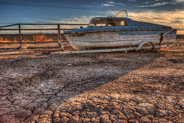 Landlocked boat Salton Sea, California