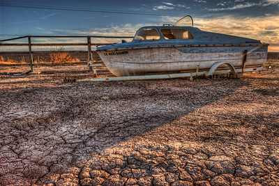 Landlocked boat Salton Sea, California