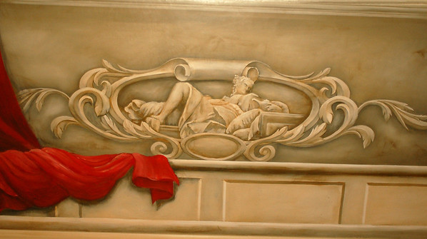 trompe l'oeil carved plaster relief mural