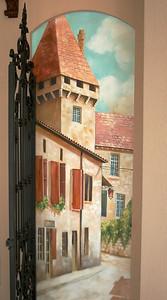 trompe l'oeil mural village street