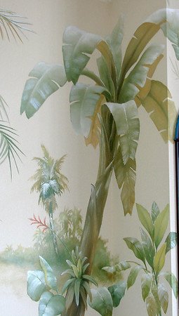 detail from tropical mural 'French colonial'
