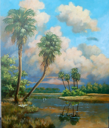 florida landscape mural 'dry praire afternoon'