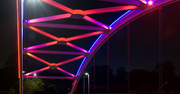 One of the bridges over US59 in Houston lit up orange and blue for the Astros World Series win. 4 photo panorama