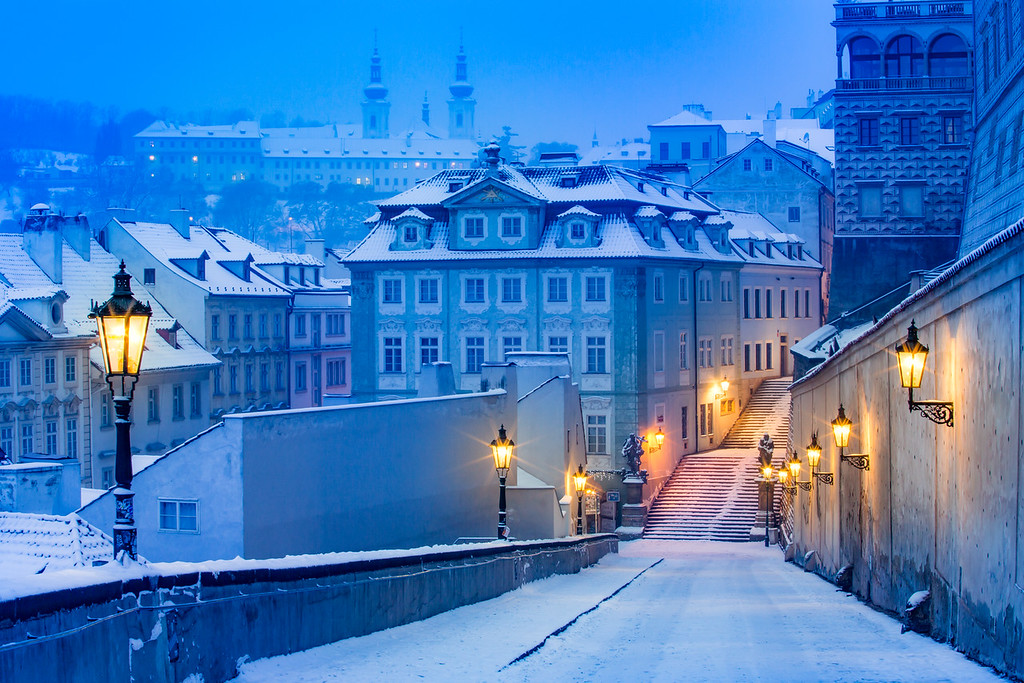 Castle stairs under the snow, Strahov monastery