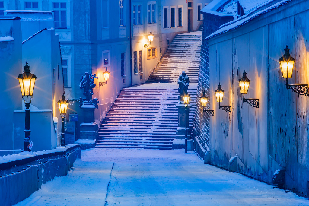 Castle stairs under the snow
