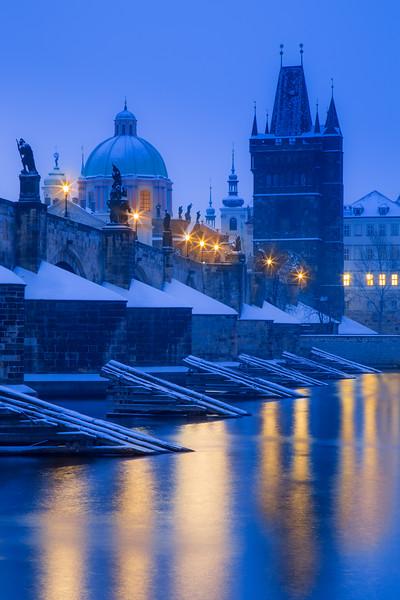 Charles Bridge under snow