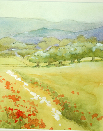 watercolor of field with poppys