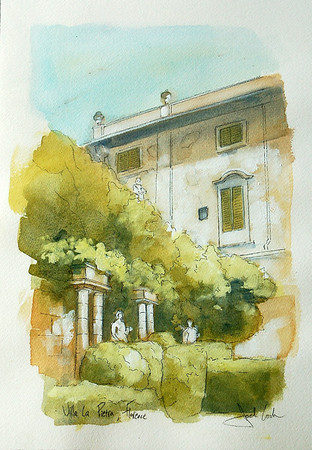 watercolor of venetian villa