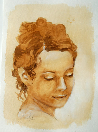watercolor study of model