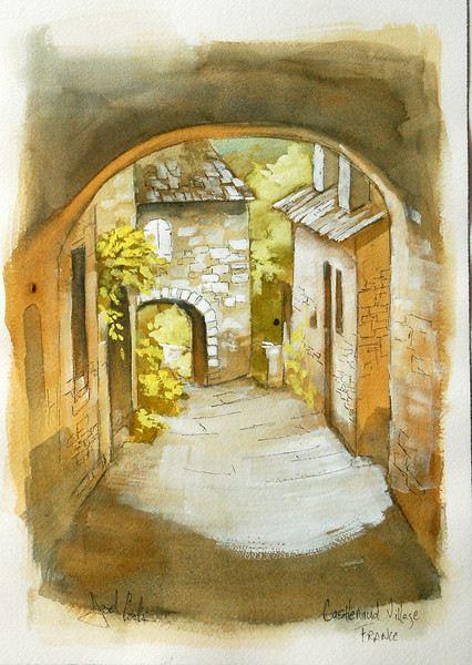 watercolor study of village street