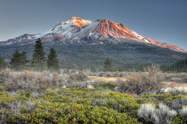 Mount Shasta and Shastina from the North Mount Shasta Wilderness, California.  Copyright © 2011 All rights reserved.