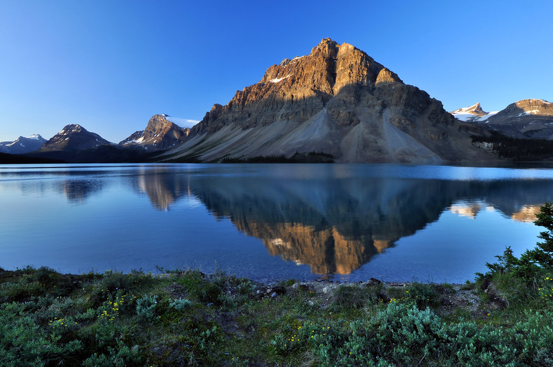Morning Reflections in Bow Lake Jasper National Park, Alberta Canada.  Copyright © 2009 All rights reserved.