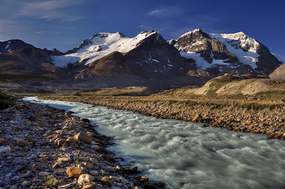 Sunwapta River and Mounts Athabasca and Andromeda