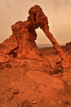 Elephant Rock (sandstorm sunset). Valley of Fire State Park, Nevada.  Copyright © 2011 All rights reserved.