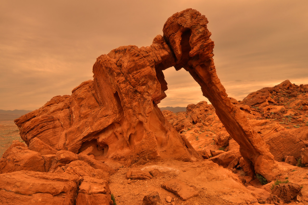 Elephant Rock (sandstorm sunset).<br /> Valley of Fire State Park, Nevada.<br /> <br /> Copyright © 2011<br /> All rights reserved.