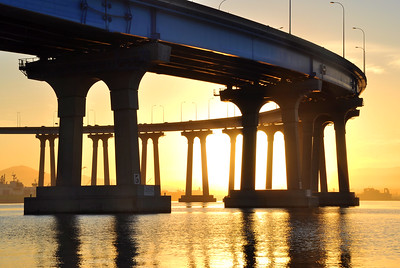 Coronado Bay Bridge (sunrise). Coronado, California.  Copyright © 2011 All rights reserved.