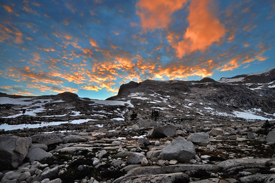 Sunset in the Nine Lake Basin Sierra Nevada Range, California. Copyright © 2010 All rights reserved.