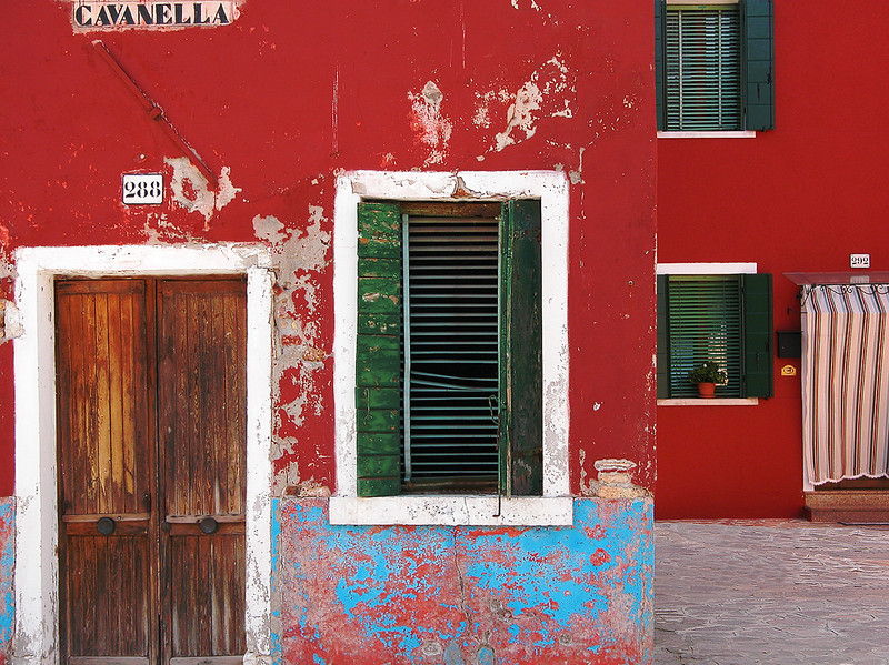 Two Red Houses on Cavanella Street - Burano, Italy
