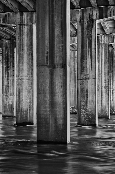 Bridge Pilings On Chattahoochee River