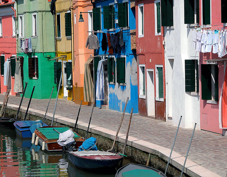 Painted Houses On The Canal - Burano, Italy