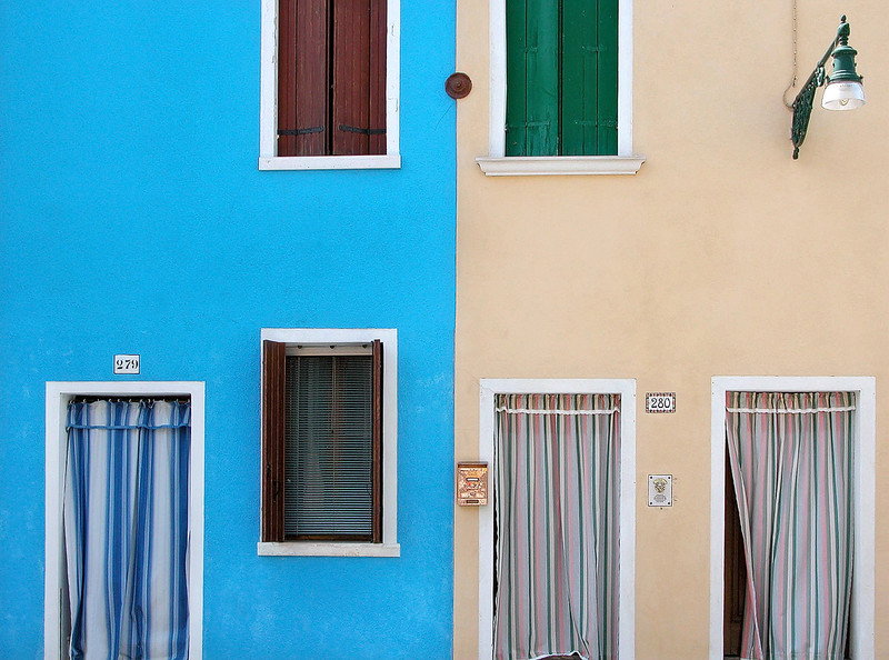 Blue House-Red Shutter/Tan House-Green Shutter - Burano, Italy