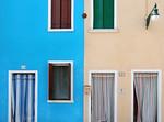 Blue House-Red Shutter/Tan House-Green Shutter - Burano, Italy