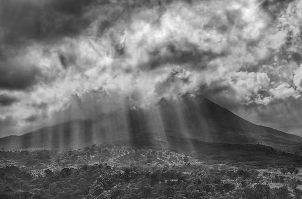 Sun Beams On Arenal Volcano