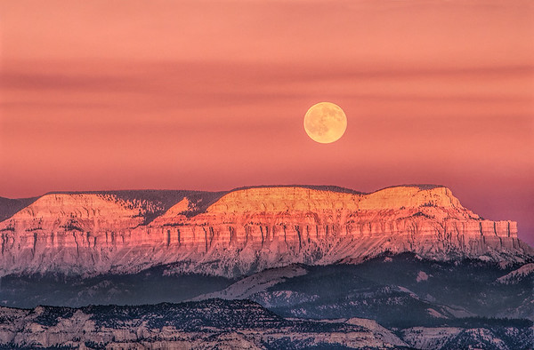 Full Moon Over The Pink Cliffs