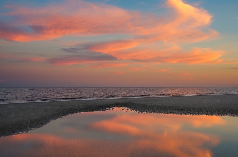 Sunset Reflection On Jekyll Beach