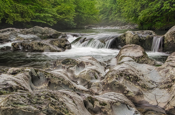 River Rock And Waterfall