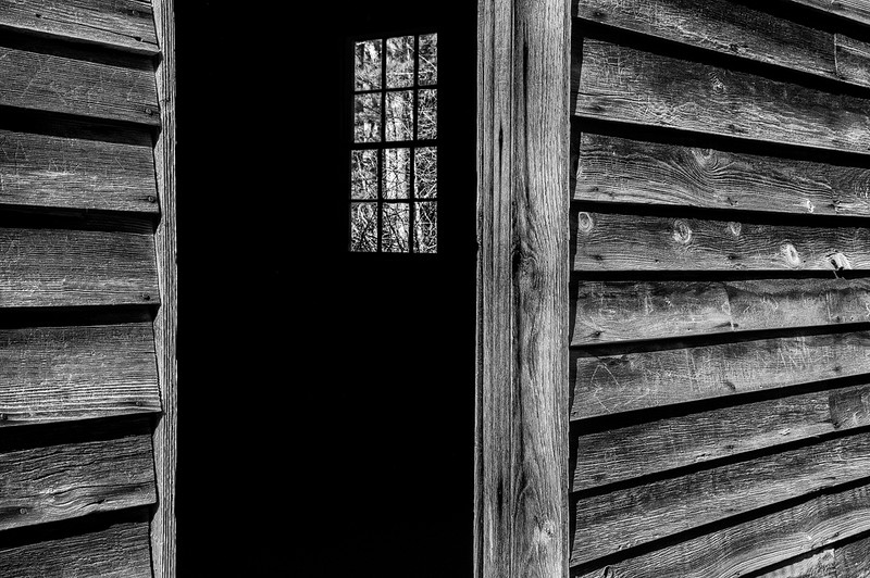 Cabin Window Through The Back Door