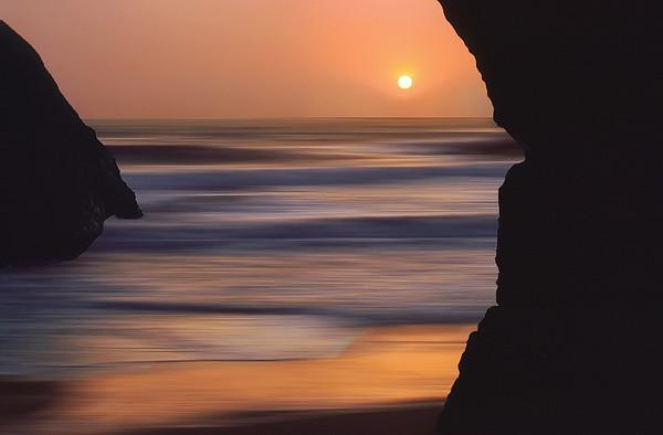 Landscape Impressions: Sunset Between Two Sea Stacks, Big Sur